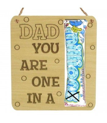 Laser Cut Oak Veneer 'Dad You Are One In A Million' Hanging Sweets Holder