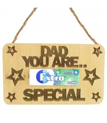 Laser Cut Oak Veneer 'Dad You Are Extra Special' Hanging Chewing Gum Holder