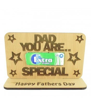 Laser Cut Oak Veneer 'Dad You Are Extra Special' Chewing Gum Holder On Stand