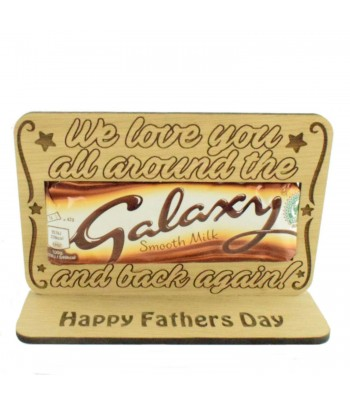 Laser Cut Oak Veneer 'We Love You All Around The Galaxy And Back Again' Chocolate Bar Holder On Stand