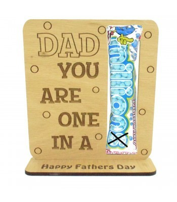 Laser Cut Oak Veneer 'Dad You Are One In A Million' Sweets Holder On Stand