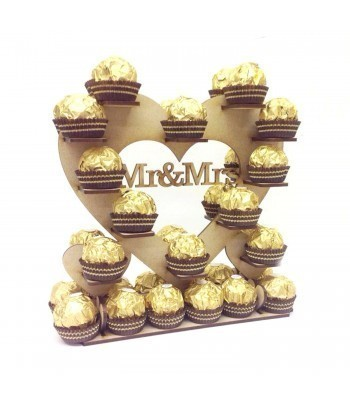 Freestanding Small 'Mr & Mrs' Ferrero Rocher Wedding Table Heart Display Stand