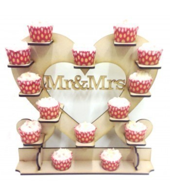 Freestanding Large 'Mr & Mrs' Cupcake Wedding Table Heart Display Stand