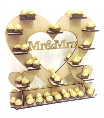 Freestanding Large 'Mr & Mrs' Ferrero Rocher Wedding Table Heart Display Stand