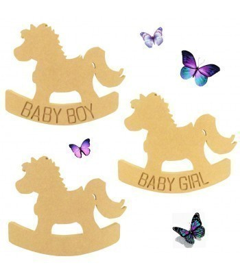 18mm Freestanding MDF Baby Girl/Boy Engraved Rocking Horse