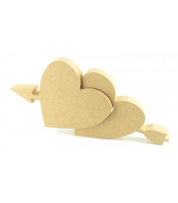 18mm Freestanding MDF Heart in a Heart with Arrow