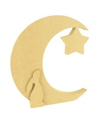 18mm Freestanding MDF Moon with hanging star and standing Hare linking into the side