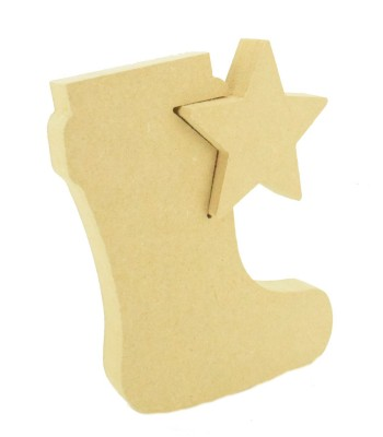 18mm Freestanding MDF Star in a Christmas Stocking