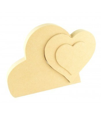 18mm Freestanding MDF Triple Interlinking Heart Shape