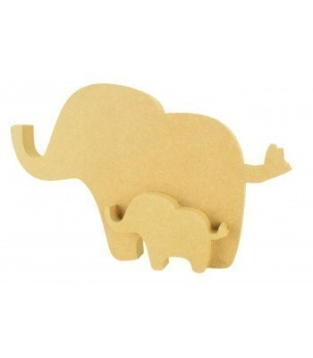 18mm Freestanding MDF Mummy Elephant with Interlinking Baby Elephant Shape