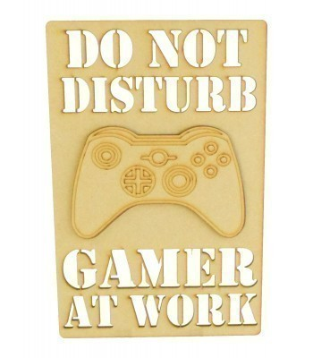 Laser Cut 'Do Not Disturb. Gamer At Work' Gaming Plaque - 3D X-Box Controller - Stencil Wording Design