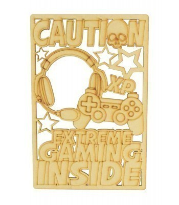 Laser Cut 'Caution. Extreme Gaming Inside' Gaming Plaque - Playstation Controller Design