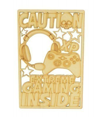 Laser Cut 'Caution. Extreme Gaming Inside' Gaming Plaque - X-Box Controller Design