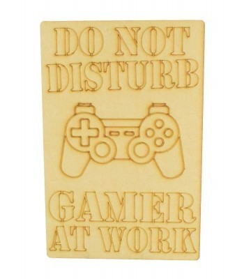 Laser Cut 'Do Not Disturb. Gamer At Work' Gaming Plaque - Playstation Controller - Etched Design