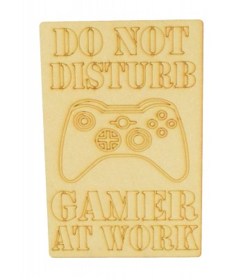 Laser Cut 'Do Not Disturb. Gamer At Work' Gaming Plaque - X-Box Controller - Etched Design