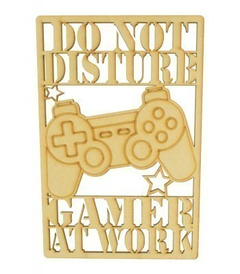 Laser Cut 'Do Not Disturb. Gamer At Work' Gaming Plaque - Playstation Controller - Framed Design
