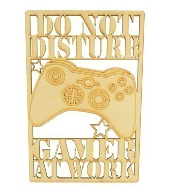 Laser Cut 'Do Not Disturb. Gamer At Work' Gaming Plaque - X-Box Controller - Framed Design
