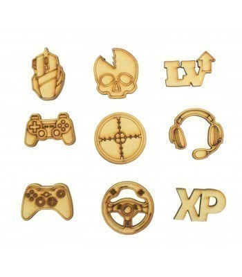 Laser Cut Computer Gaming Themed Pack of 9 Shapes