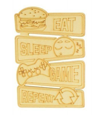 Laser Cut 'Eat Sleep Game Repeat' Gaming Plaque