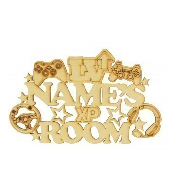 Laser Cut Personalised 'Room' Sign with Gaming Shapes