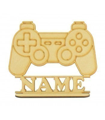 Laser Cut Personalised Playstation Controller Shape on a Stand