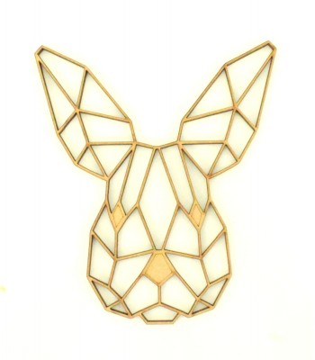 Laser Cut Bunny Geometric Wall Art - Size Options - Plaque Options