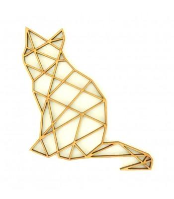 Laser Cut Cat Geometric Wall Art - Size Options - Plaque Options