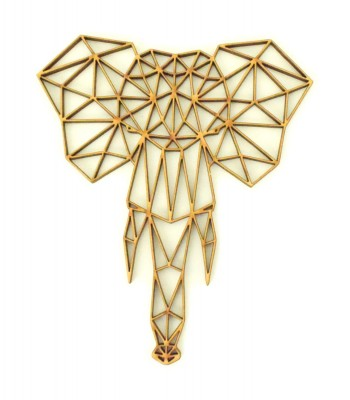 Laser Cut Elephant Geometric Wall Art - Size Options - Plaque Options