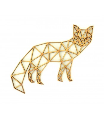 Laser Cut Fox Geometric Wall Art - Size Options - Plaque Options