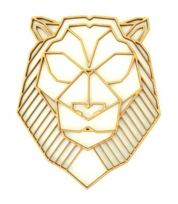 Laser Cut Lion (Design 2) Geometric Wall Art - Size Options - Plaque Options