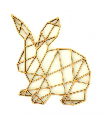 Laser Cut Rabbit Geometric Wall Art - Size Options - Plaque Options