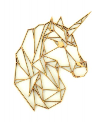 Laser Cut Unicorn Geometric Wall Art - Size Options - Plaque Options