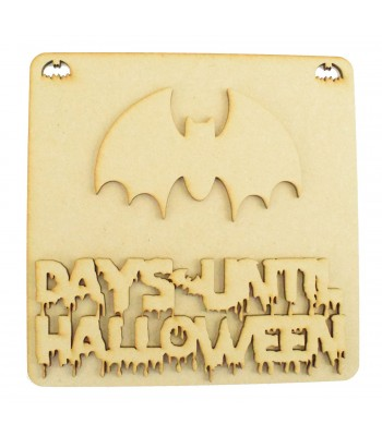 Laser Cut 3D 'Days Until Halloween' Countdown Plaque - Bat Design