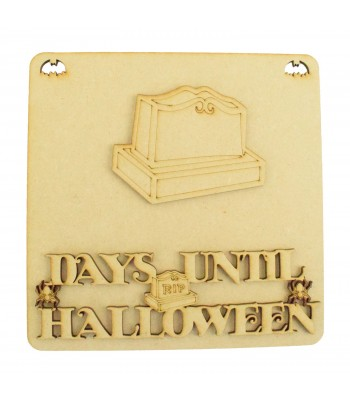 Laser Cut 3D 'Days Until Halloween' Countdown Plaque - Gravestone Design