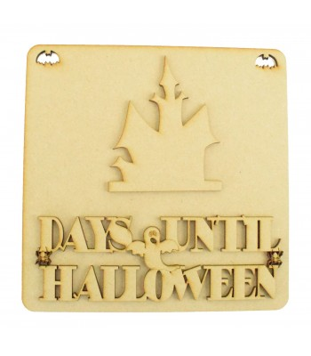 Laser Cut 3D 'Days Until Halloween' Countdown Plaque - Haunted House Design