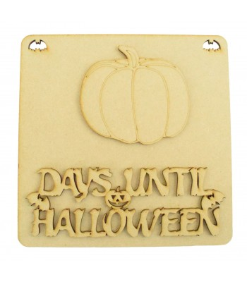 Laser Cut 3D 'Days Until Halloween' Countdown Plaque - Pumpkin Design