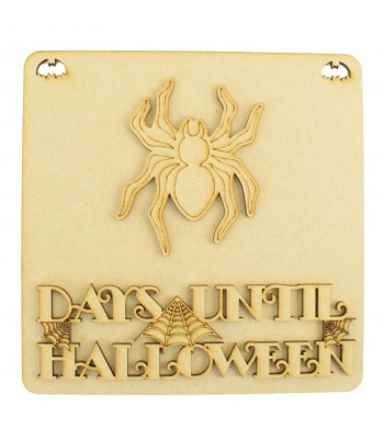 Laser Cut 3D 'Days Until Halloween' Countdown Plaque - Spider Design