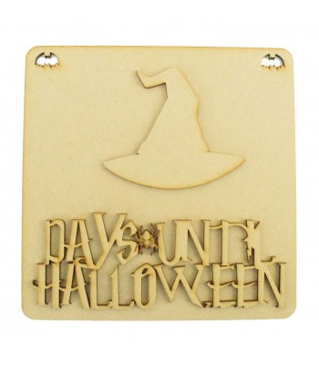 Laser Cut 3D 'Days Until Halloween' Countdown Plaque - Witches Hat Design