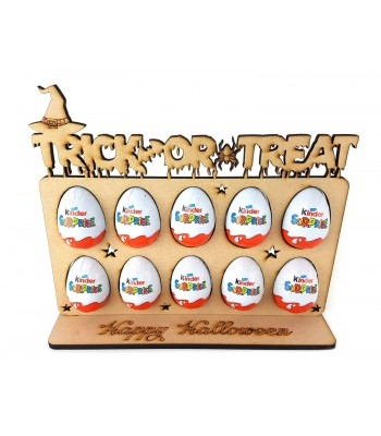 6mm 'Trick or Treat' Plaque Kinder Egg Holder on a 'Happy Halloween' Stand