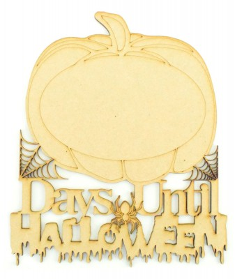 Laser Cut 'Days Until Halloween' Countdown Sign with Large Pumpkin