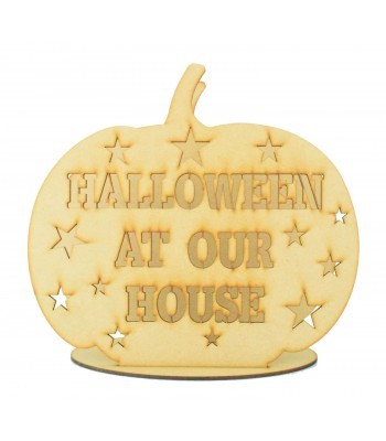 Laser Cut 'Halloween at Our House' Pumpkin Tealight Holder