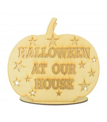 Laser Cut 'Halloween at Our House' Pumpkin Tealight Holder