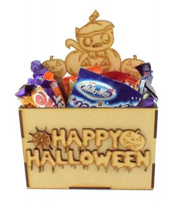 Laser Cut Halloween Hamper Treat Boxes - Cat Pumpkin Theme
