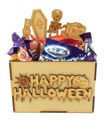 Laser Cut Halloween Hamper Treat Boxes - Skeleton Theme