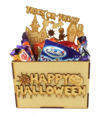 Laser Cut Halloween Hamper Treat Boxes - Haloween Scene Theme