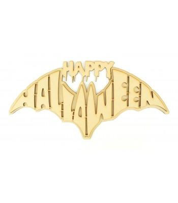 Laser Cut 'Happy Halloween' Bat Shape Sign