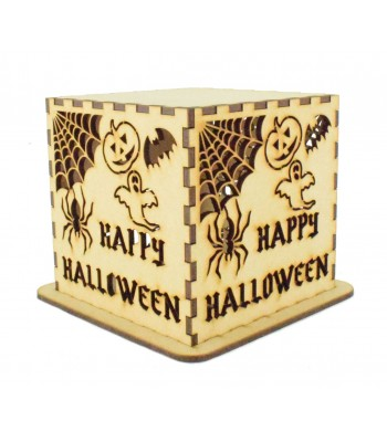 Laser cut Personalised Halloween Tea Light Box - Halloween Design