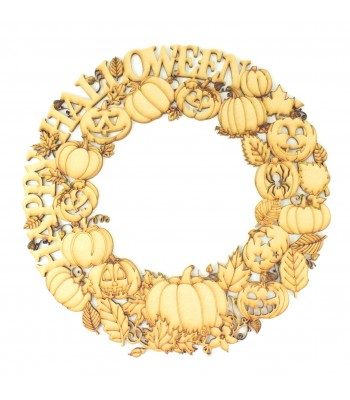 Laser Cut Detailed 'Happy Halloween' Pumpkin and Autumn Leaves Wreath