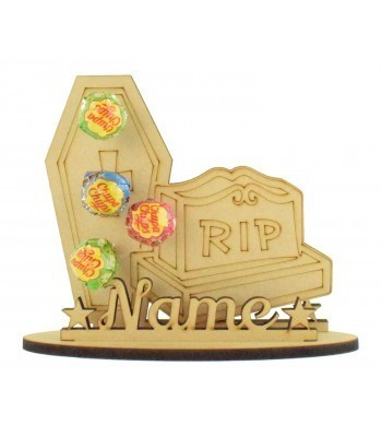 6mm Gravestone & Coffin Shape Lolly Pop Halloween Holder on a Stand - Stand Options