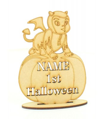 Laser Cut Personalised '1st Halloween' Devil Baby on a Pumpkin on a Stand